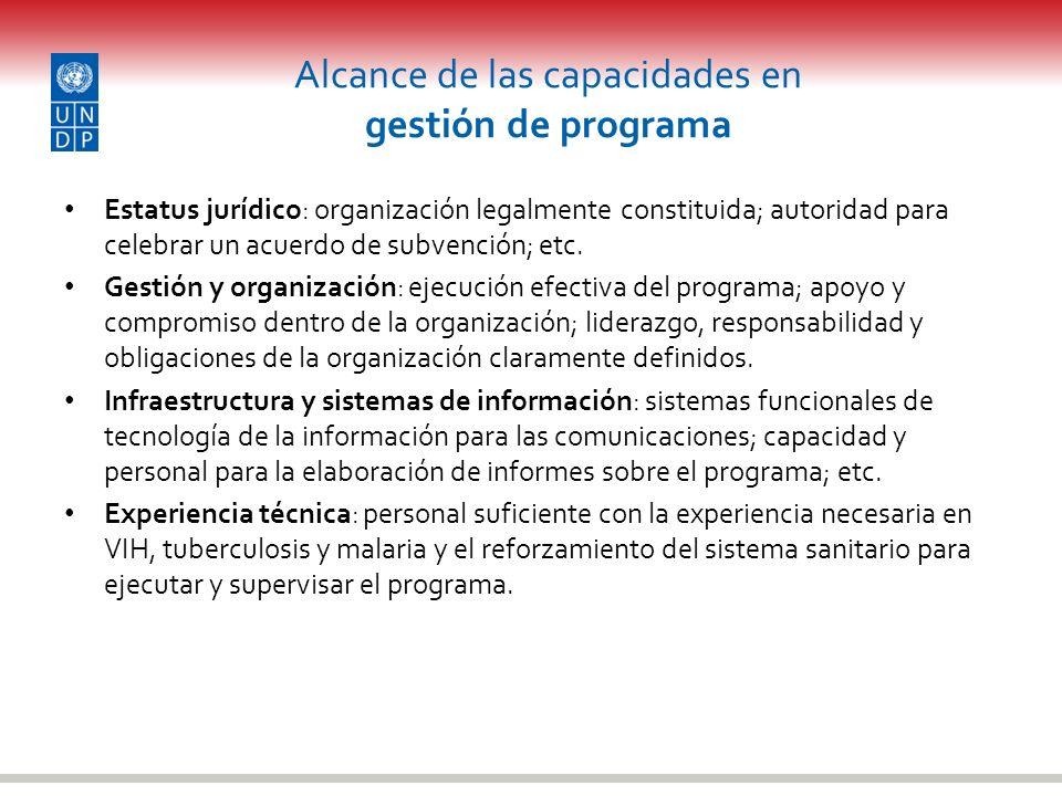 Alcance de las capacidades en gestión de programa Estatus jurídico: organización legalmente constituida; autoridad para celebrar un acuerdo de subvenc