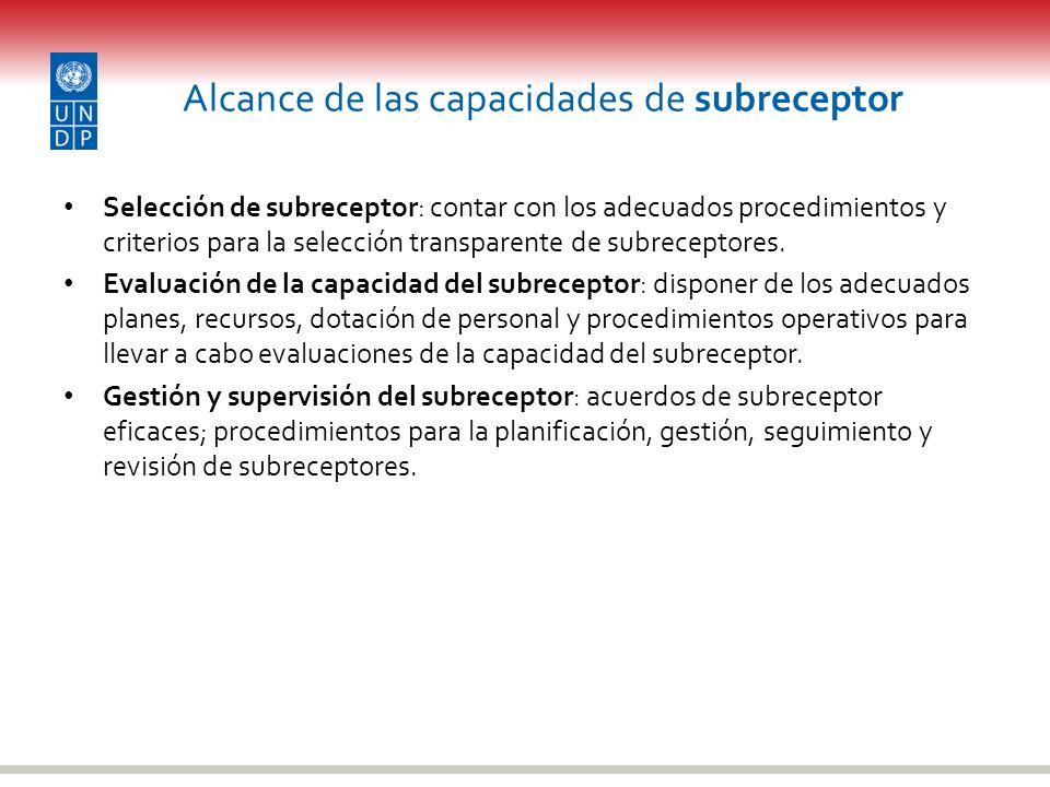 Alcance de las capacidades de subreceptor Selección de subreceptor: contar con los adecuados procedimientos y criterios para la selección transparente
