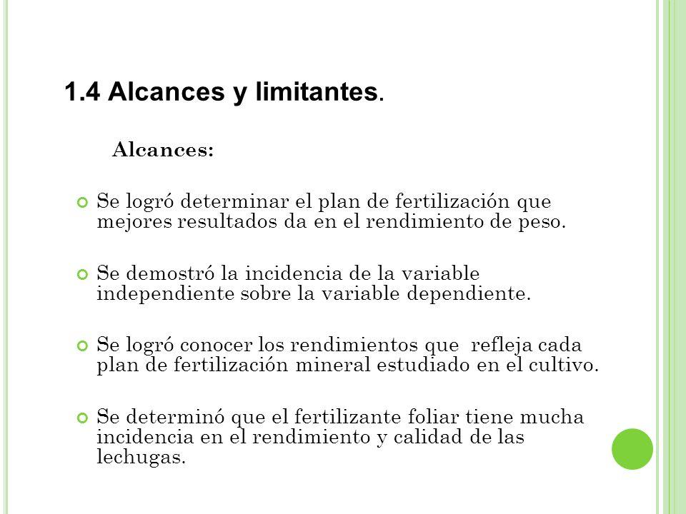1.4 Alcances y limitantes. Alcances: Se logró determinar el plan de fertilización que mejores resultados da en el rendimiento de peso. Se demostró la