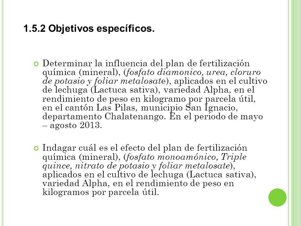 1.5.2 Objetivos específicos. Determinar la influencia del plan de fertilización química (mineral), ( fosfato diamonico, urea, cloruro de potasio y fol
