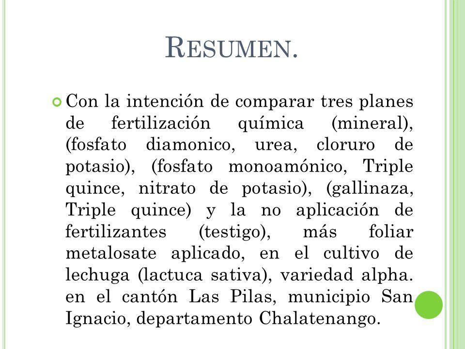 R ESUMEN. Con la intención de comparar tres planes de fertilización química (mineral), (fosfato diamonico, urea, cloruro de potasio), (fosfato monoamó