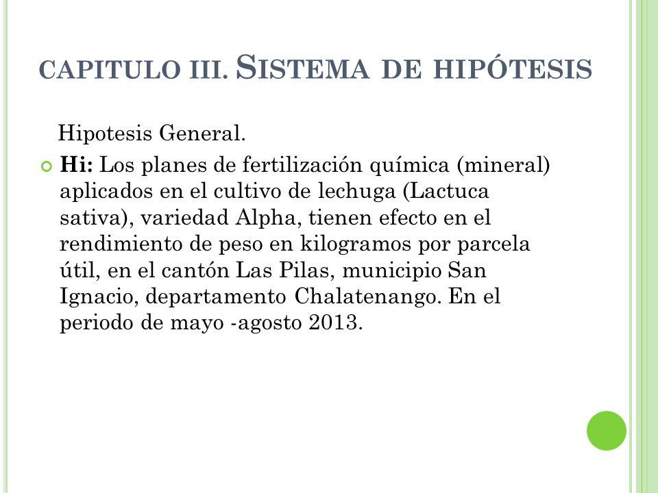 CAPITULO III. S ISTEMA DE HIPÓTESIS Hipotesis General. Hi: Los planes de fertilización química (mineral) aplicados en el cultivo de lechuga (Lactuca s