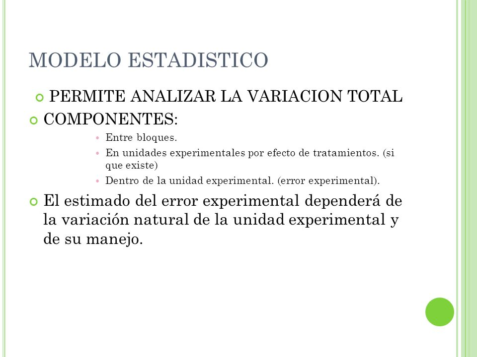 MODELO ESTADISTICO PERMITE ANALIZAR LA VARIACION TOTAL COMPONENTES: Entre bloques. En unidades experimentales por efecto de tratamientos. (si que exis