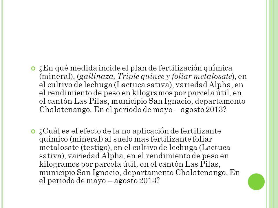 ¿En qué medida incide el plan de fertilización química (mineral), ( gallinaza, Triple quince y foliar metalosate ), en el cultivo de lechuga (Lactuca