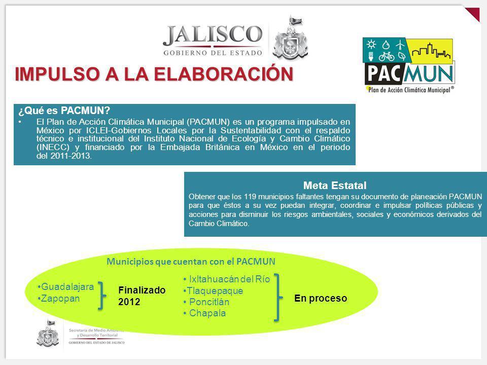 IMPULSO A LA ELABORACIÓN ¿Qué es PACMUN? El Plan de Acción Climática Municipal (PACMUN) es un programa impulsado en México por ICLEI-Gobiernos Locales