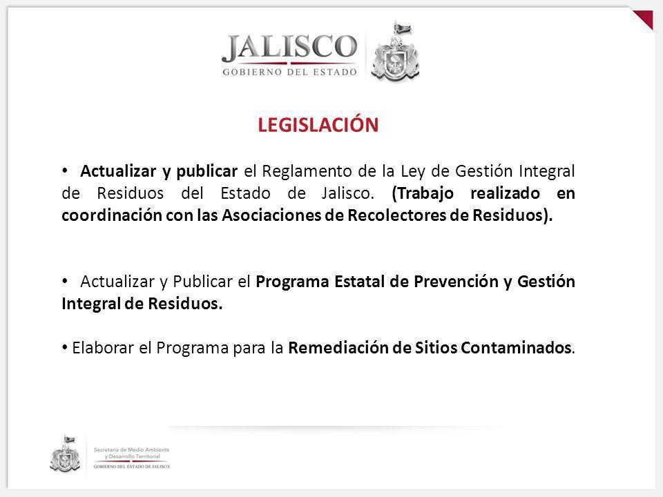 LEGISLACIÓN Actualizar y publicar el Reglamento de la Ley de Gestión Integral de Residuos del Estado de Jalisco. (Trabajo realizado en coordinación co