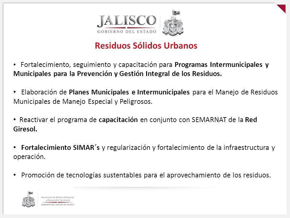 Residuos Sólidos Urbanos Fortalecimiento, seguimiento y capacitación para Programas Intermunicipales y Municipales para la Prevención y Gestión Integr