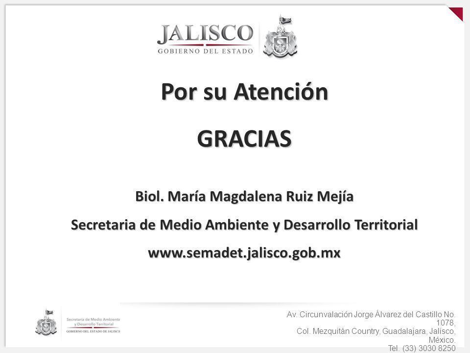 Por su Atención GRACIAS Biol. María Magdalena Ruiz Mejía Secretaria de Medio Ambiente y Desarrollo Territorial www.semadet.jalisco.gob.mx Av. Circunva