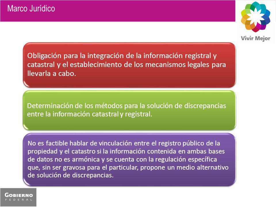 Obligación para la integración de la información registral y catastral y el establecimiento de los mecanismos legales para llevarla a cabo. Determinac
