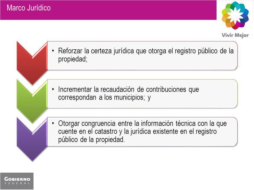 Reforzar la certeza jurídica que otorga el registro público de la propiedad; Incrementar la recaudación de contribuciones que correspondan a los munic