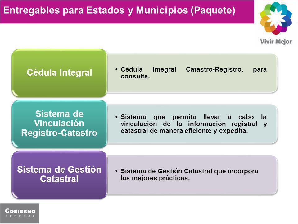 Entregables para Estados y Municipios (Paquete) Cédula Integral Catastro-Registro, para consulta. Cédula Integral Sistema que permita llevar a cabo la