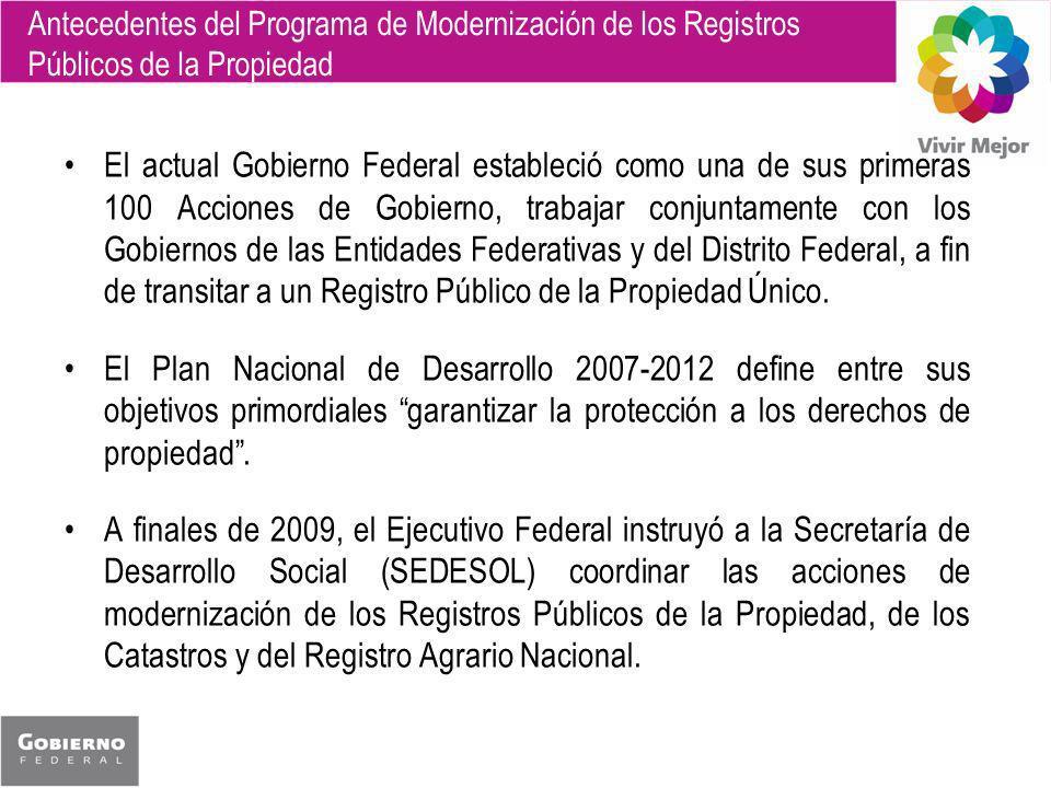 Antecedentes del Programa de Modernización de los Registros Públicos de la Propiedad El actual Gobierno Federal estableció como una de sus primeras 10