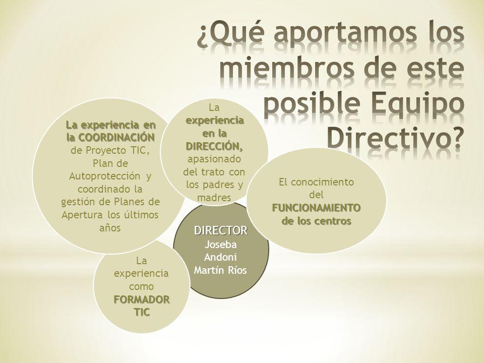 DIRECTOR DIRECTOR Joseba Andoni Martín Ríos FORMADOR TIC La experiencia como FORMADOR TIC La experiencia en la COORDINACIÓN La experiencia en la COORD