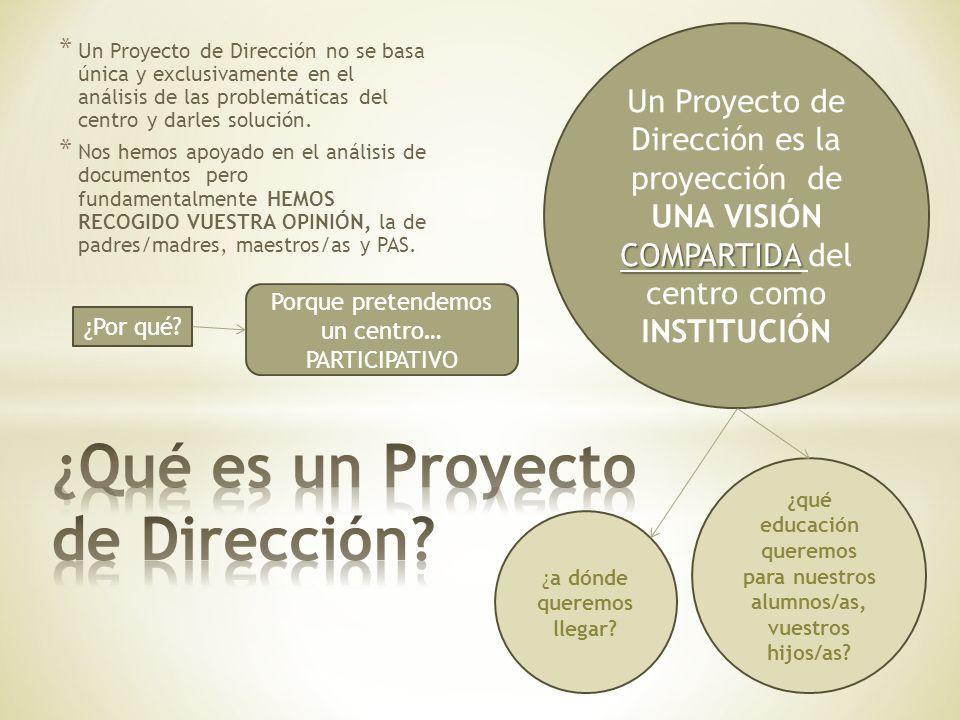 * Un Proyecto de Dirección no se basa única y exclusivamente en el análisis de las problemáticas del centro y darles solución. * Nos hemos apoyado en