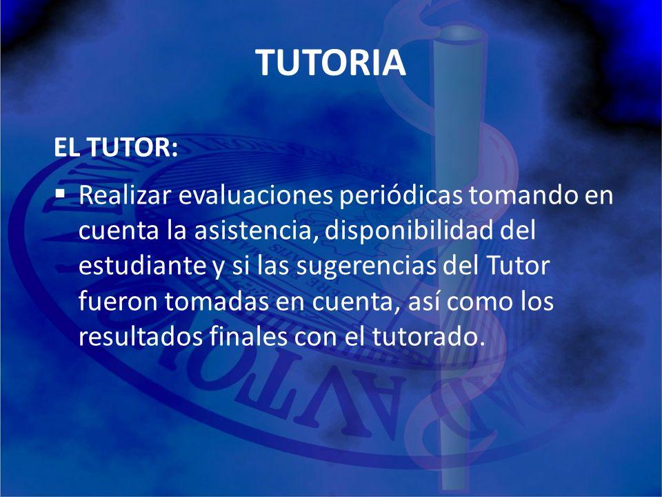 TUTORIA EL TUTOR: Realizar evaluaciones periódicas tomando en cuenta la asistencia, disponibilidad del estudiante y si las sugerencias del Tutor fuero