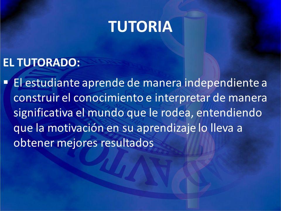 TUTORIA EL TUTORADO: El estudiante aprende de manera independiente a construir el conocimiento e interpretar de manera significativa el mundo que le r