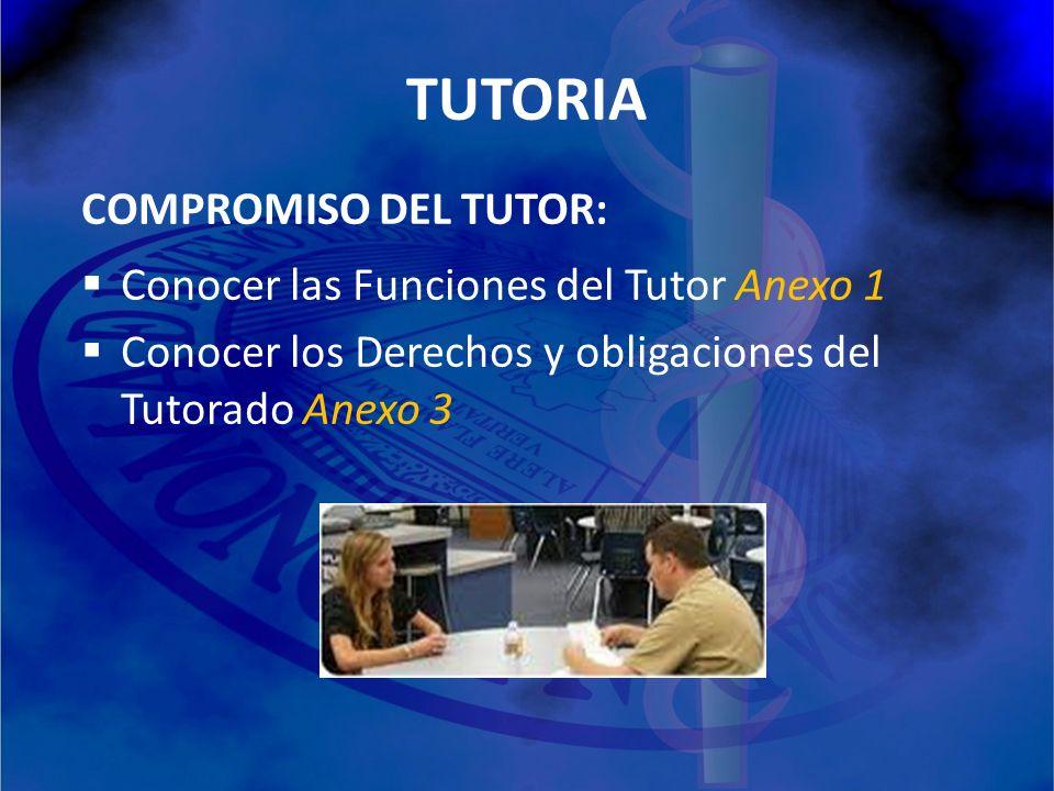 TUTORIA COMPROMISO DEL TUTOR: Conocer las Funciones del Tutor Anexo 1 Conocer los Derechos y obligaciones del Tutorado Anexo 3