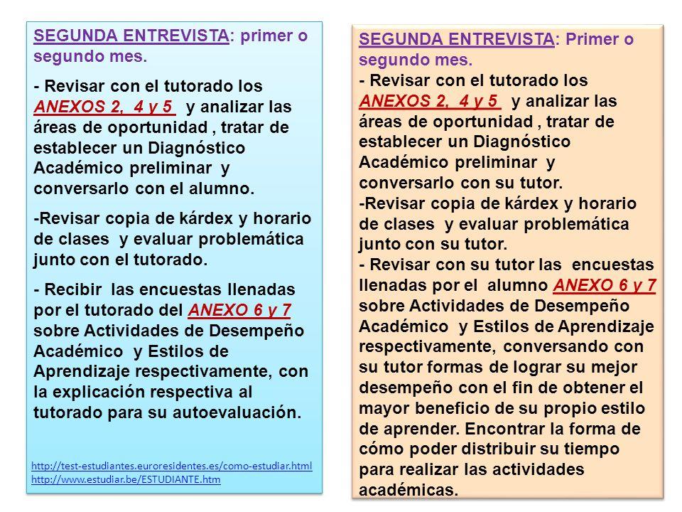 SEGUNDA ENTREVISTA: Primer o segundo mes. - Revisar con el tutorado los ANEXOS 2, 4 y 5 y analizar las áreas de oportunidad, tratar de establecer un D