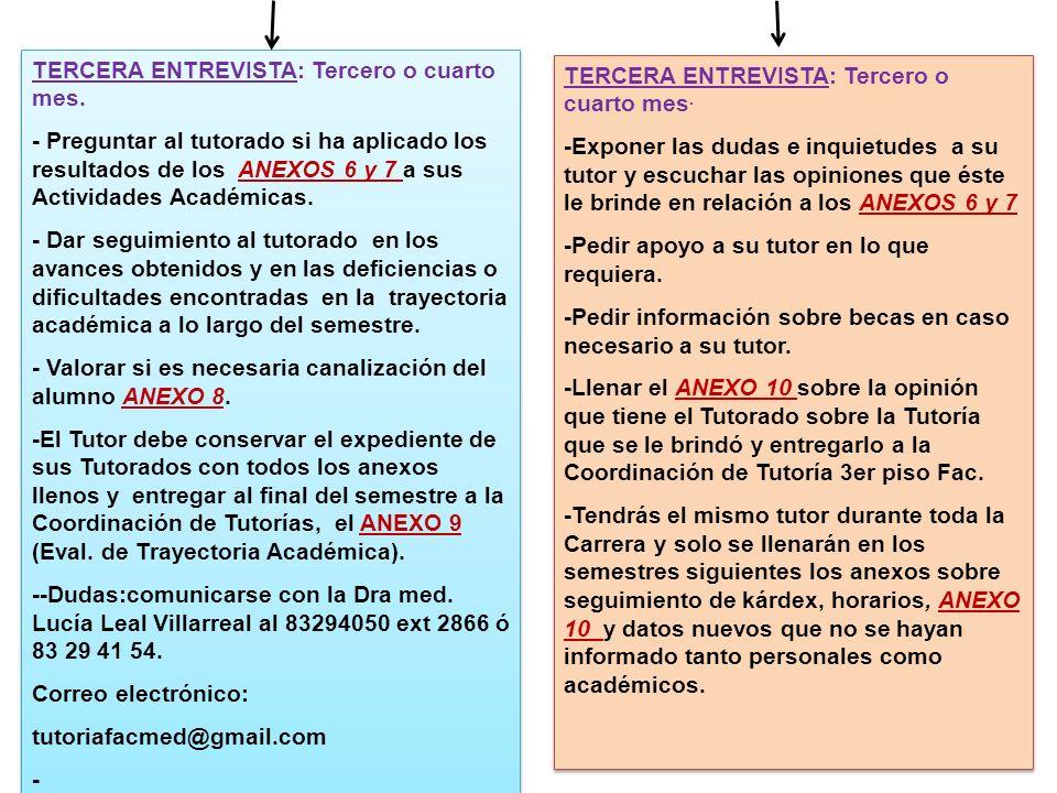 TERCERA ENTREVISTA: Tercero o cuarto mes. - Preguntar al tutorado si ha aplicado los resultados de los ANEXOS 6 y 7 a sus Actividades Académicas. - Da