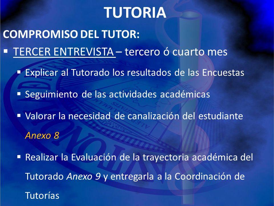 TUTORIA COMPROMISO DEL TUTOR: TERCER ENTREVISTA – tercero ó cuarto mes Explicar al Tutorado los resultados de las Encuestas Seguimiento de las activid