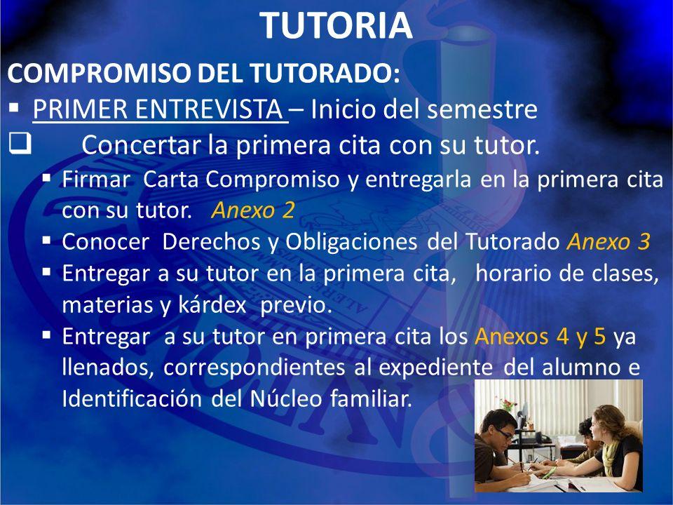 TUTORIA COMPROMISO DEL TUTORADO: PRIMER ENTREVISTA – Inicio del semestre Concertar la primera cita con su tutor. Firmar Carta Compromiso y entregarla