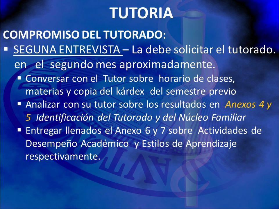 TUTORIA COMPROMISO DEL TUTORADO: SEGUNA ENTREVISTA – La debe solicitar el tutorado. en el segundo mes aproximadamente. Conversar con el Tutor sobre ho