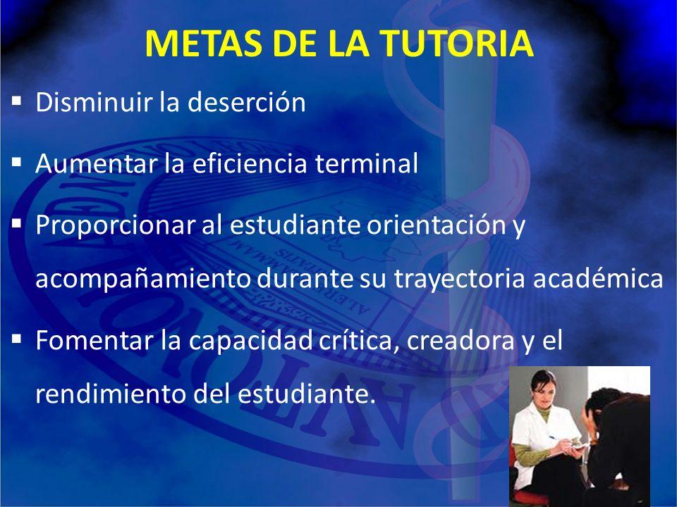 METAS DE LA TUTORIA Disminuir la deserción Aumentar la eficiencia terminal Proporcionar al estudiante orientación y acompañamiento durante su trayecto