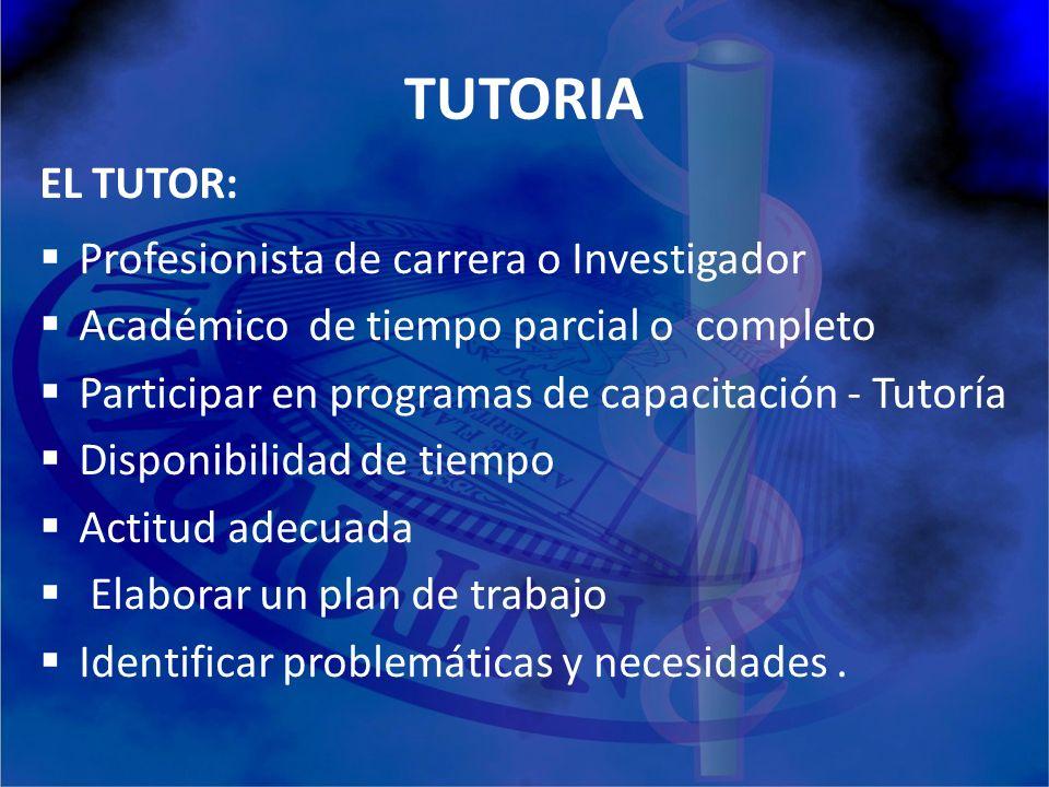 TUTORIA EL TUTOR: Profesionista de carrera o Investigador Académico de tiempo parcial o completo Participar en programas de capacitación - Tutoría Dis