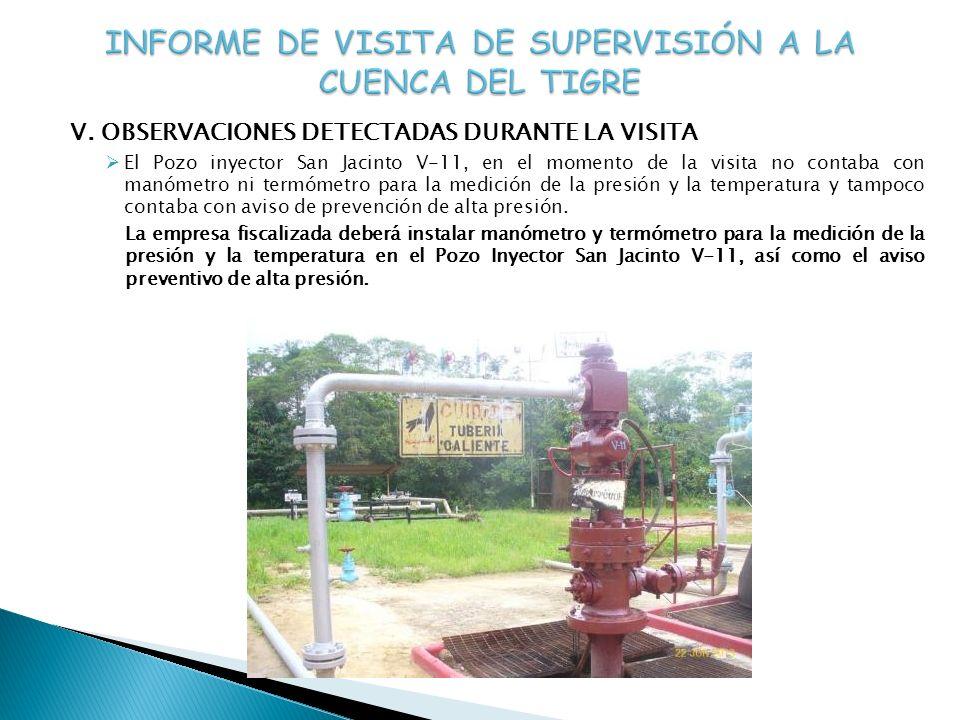 V. OBSERVACIONES DETECTADAS DURANTE LA VISITA El Pozo inyector San Jacinto V-11, en el momento de la visita no contaba con manómetro ni termómetro par