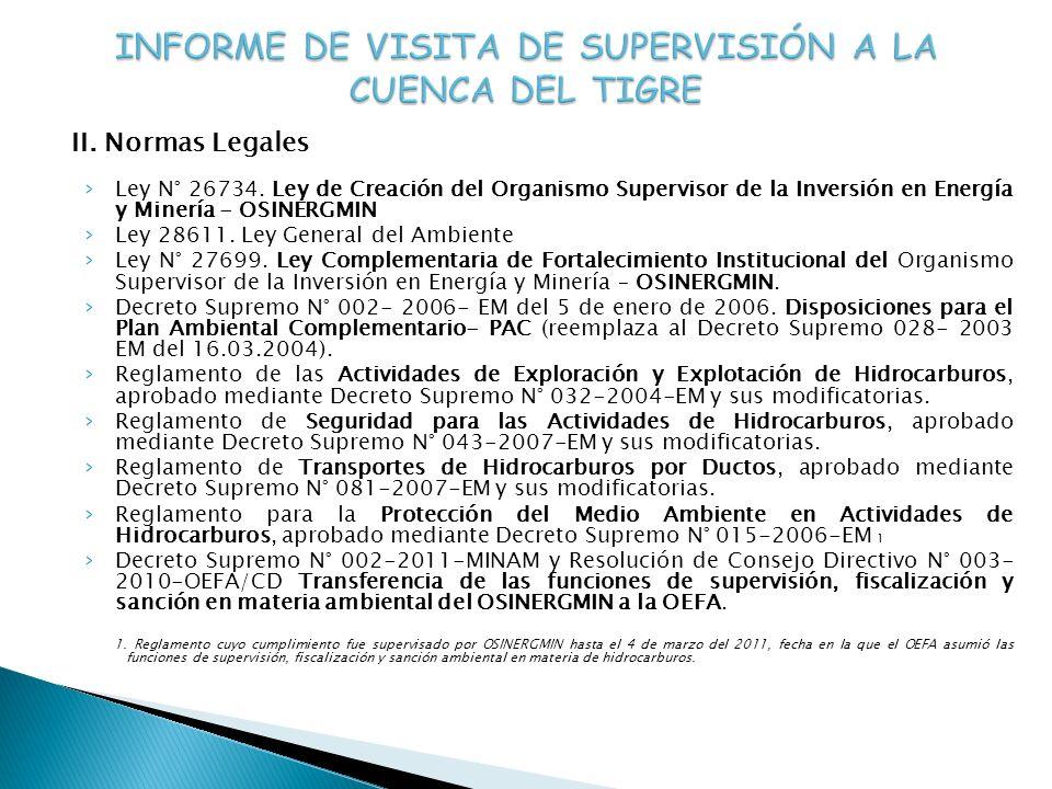 II. Normas Legales Ley N° 26734. Ley de Creación del Organismo Supervisor de la Inversión en Energía y Minería - OSINERGMIN Ley 28611. Ley General del