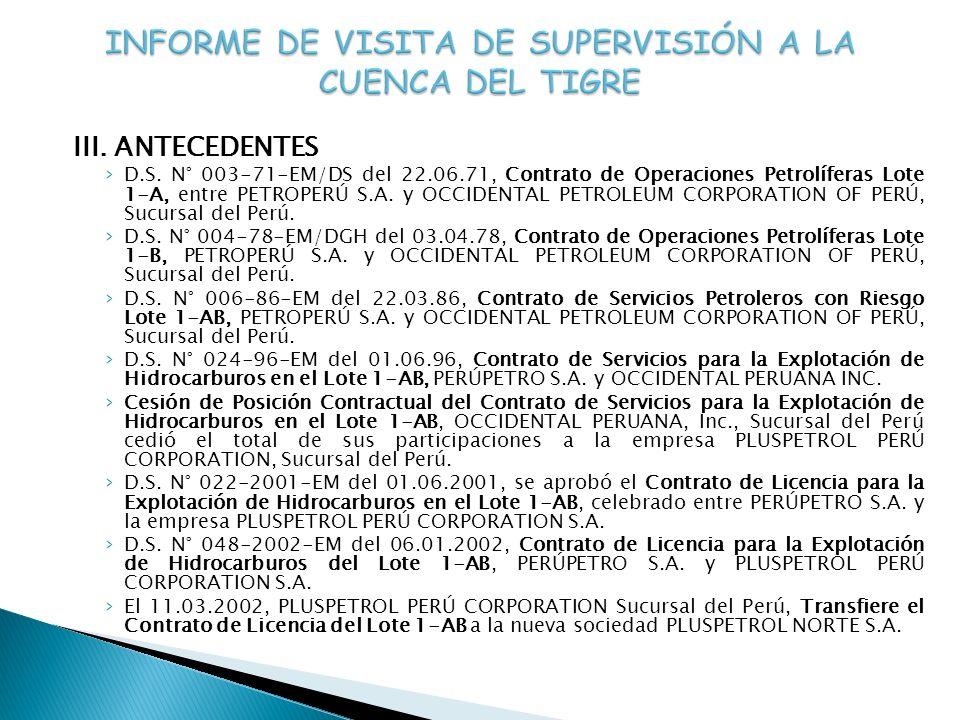 III. ANTECEDENTES D.S. N° 003-71-EM/DS del 22.06.71, Contrato de Operaciones Petrolíferas Lote 1-A, entre PETROPERÚ S.A. y OCCIDENTAL PETROLEUM CORPOR