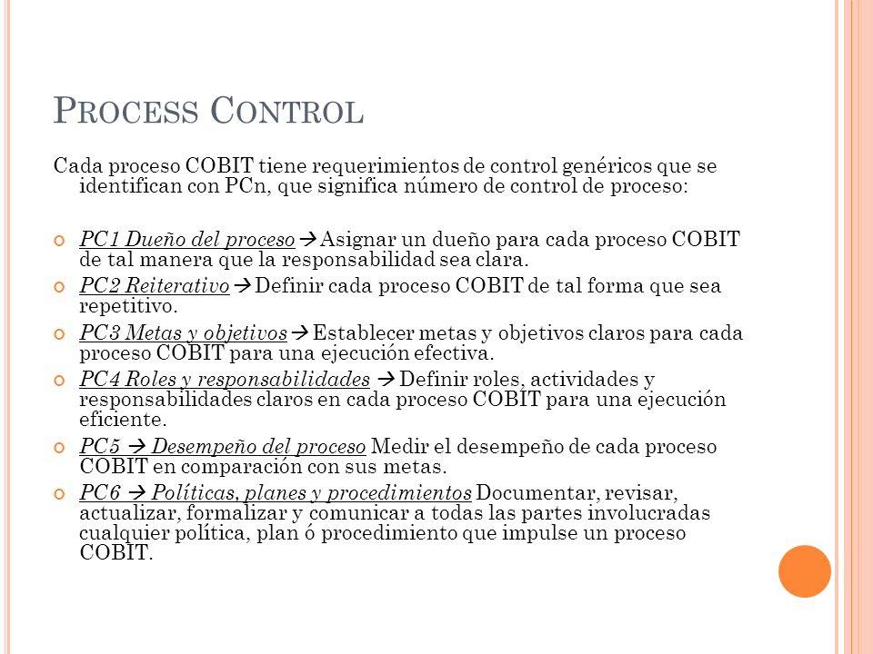 P ROCESS C ONTROL Cada proceso COBIT tiene requerimientos de control genéricos que se identifican con PCn, que significa número de control de proceso: