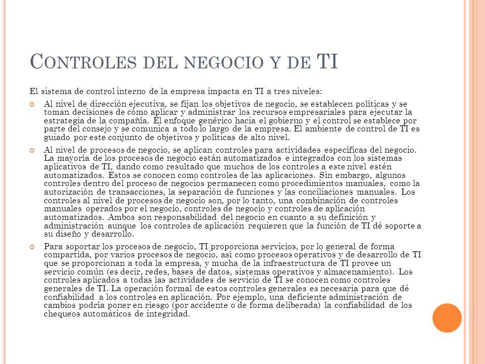 C ONTROLES DEL NEGOCIO Y DE TI El sistema de control interno de la empresa impacta en TI a tres niveles: Al nivel de dirección ejecutiva, se fijan los