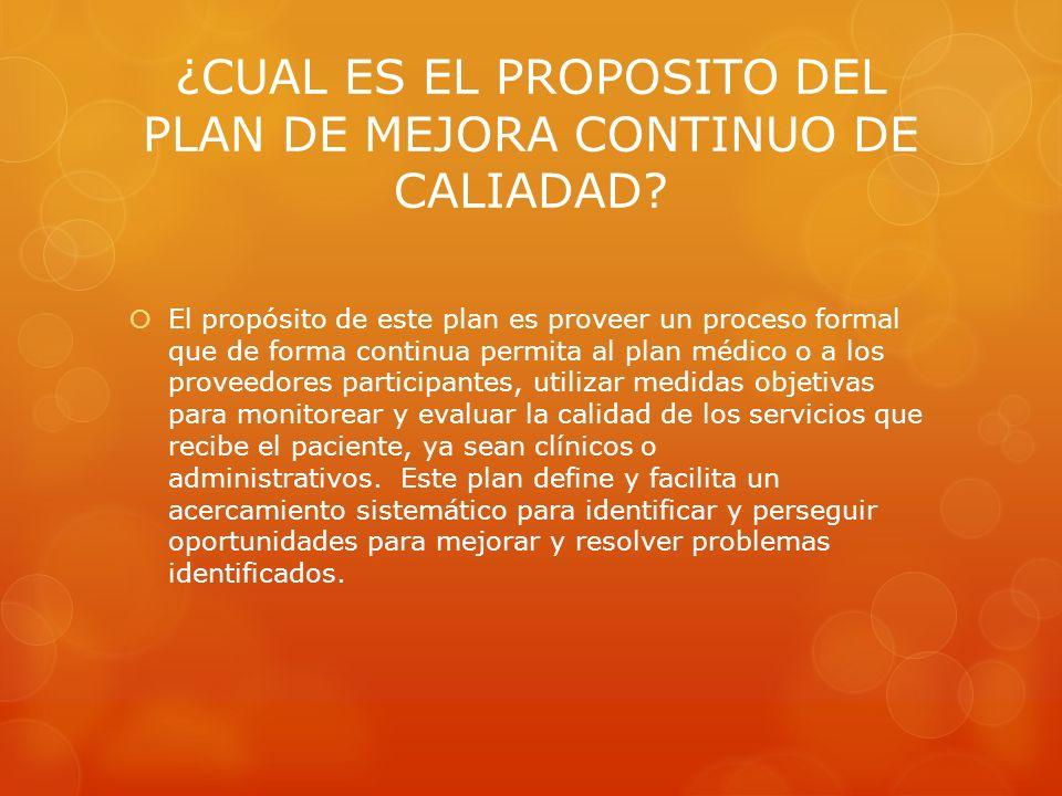 ¿CUAL ES EL PROPOSITO DEL PLAN DE MEJORA CONTINUO DE CALIADAD? El propósito de este plan es proveer un proceso formal que de forma continua permita al