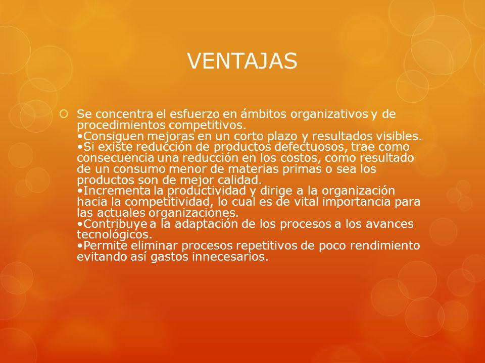 VENTAJAS Se concentra el esfuerzo en ámbitos organizativos y de procedimientos competitivos. Consiguen mejoras en un corto plazo y resultados visibles