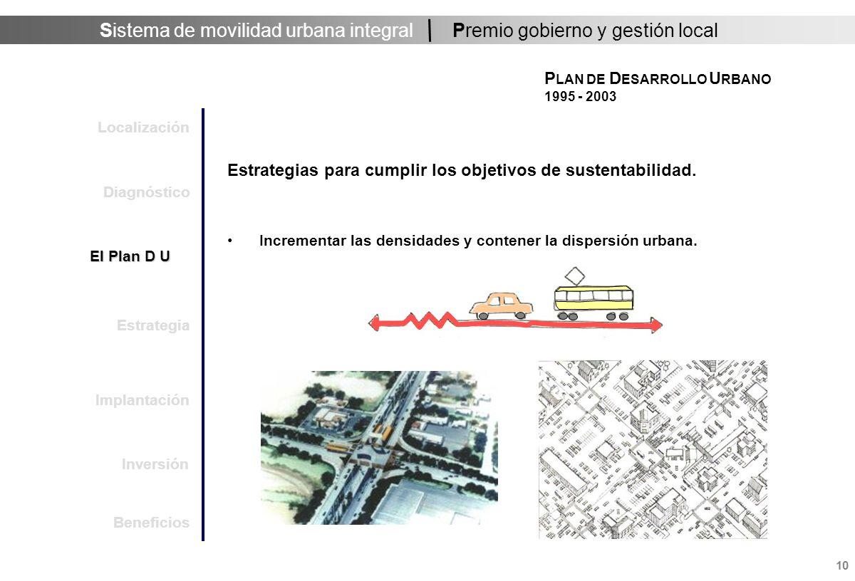 Sistema de movilidad urbana integral 10 Premio gobierno y gestión local Estrategias para cumplir los objetivos de sustentabilidad.