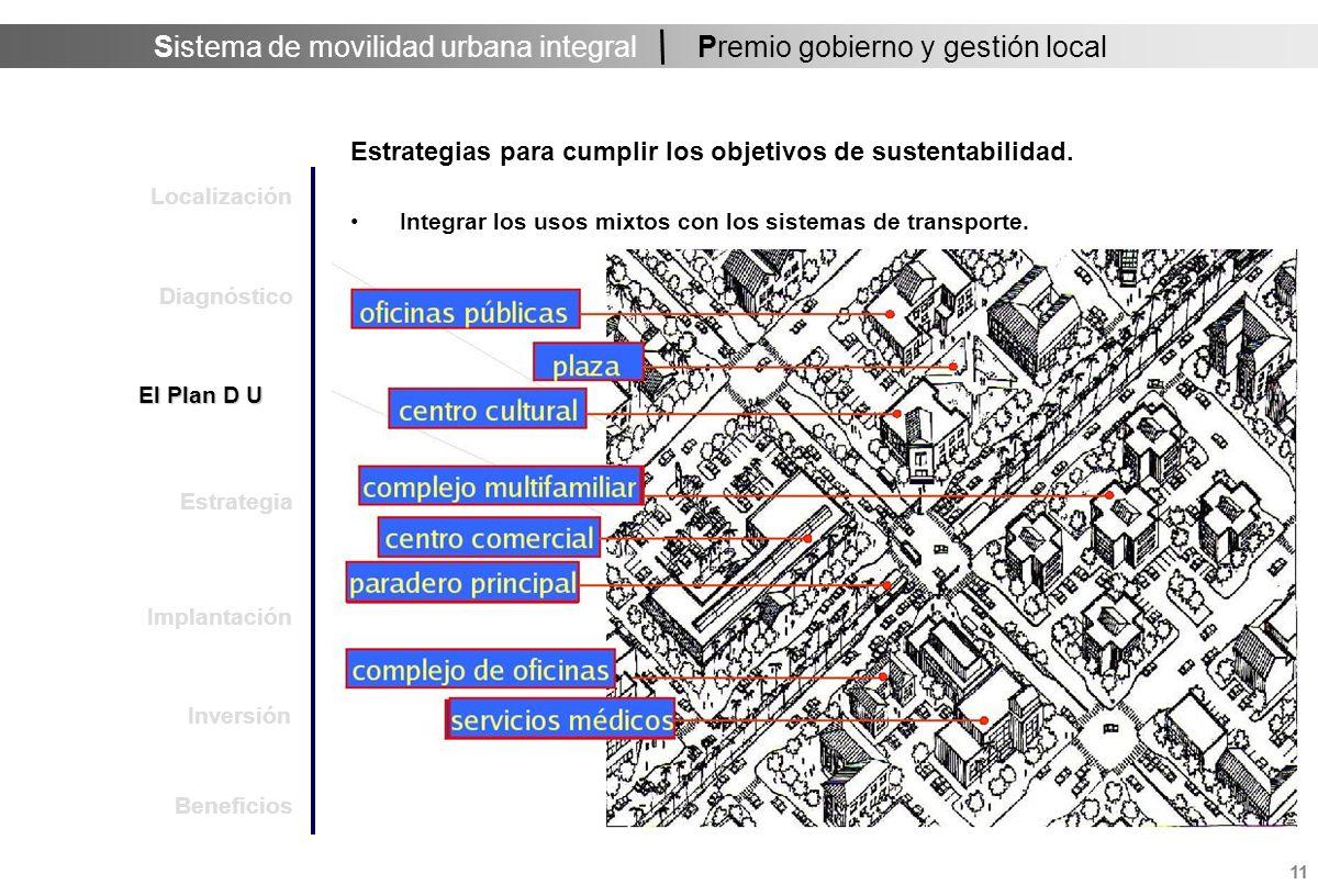Sistema de movilidad urbana integral 11 Premio gobierno y gestión local Estrategias para cumplir los objetivos de sustentabilidad.
