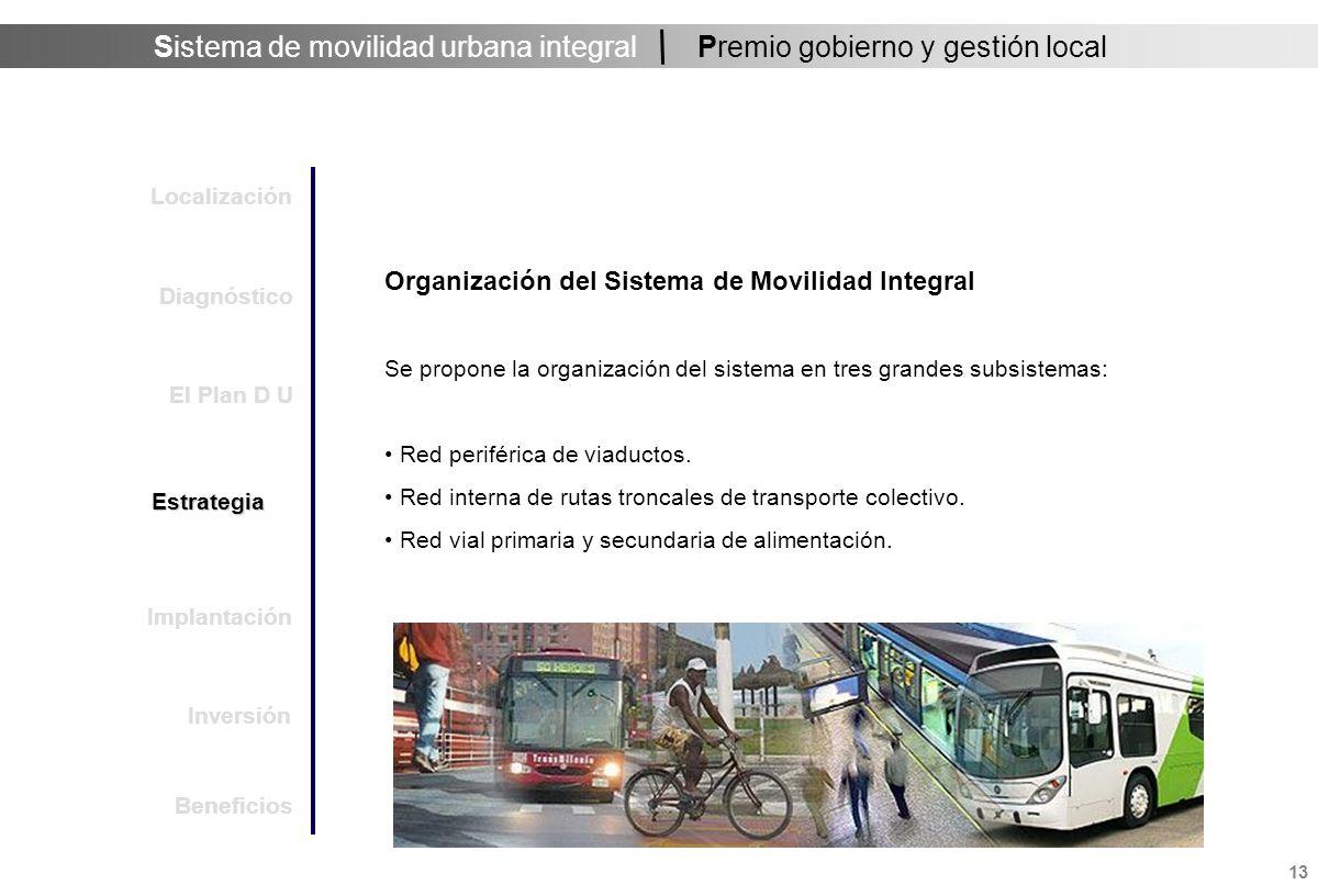 Sistema de movilidad urbana integral 13 Premio gobierno y gestión local Organización del Sistema de Movilidad Integral Se propone la organización del sistema en tres grandes subsistemas: Red periférica de viaductos.