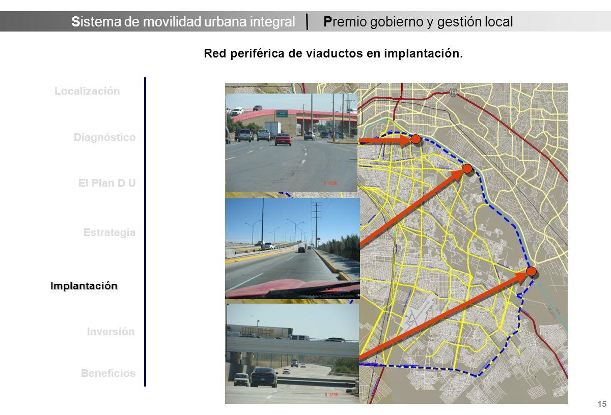 Sistema de movilidad urbana integral 15 Premio gobierno y gestión local Red periférica de viaductos en implantación.