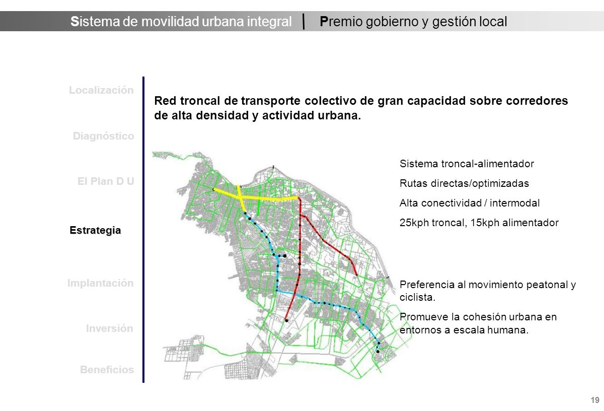 Sistema de movilidad urbana integral 19 Premio gobierno y gestión local Red troncal de transporte colectivo de gran capacidad sobre corredores de alta densidad y actividad urbana.