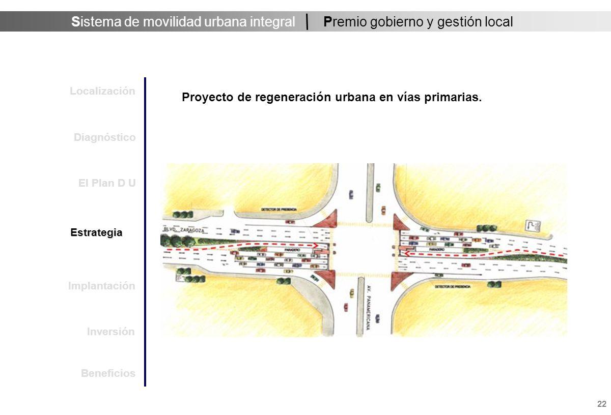Sistema de movilidad urbana integral 23 Premio gobierno y gestión local Proyecto de regeneración urbana en vías primarias.