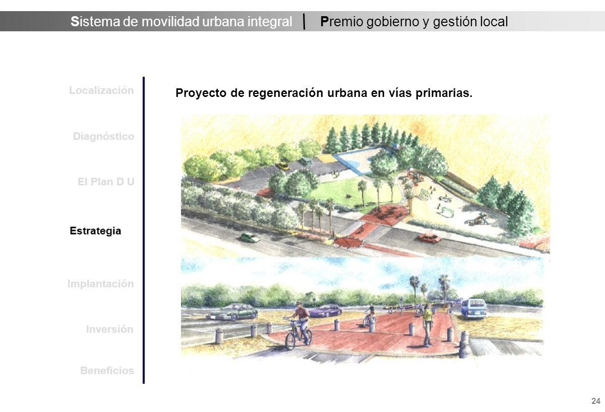 Sistema de movilidad urbana integral 25 Premio gobierno y gestión local Proyecto de regeneración urbana en vías primarias.