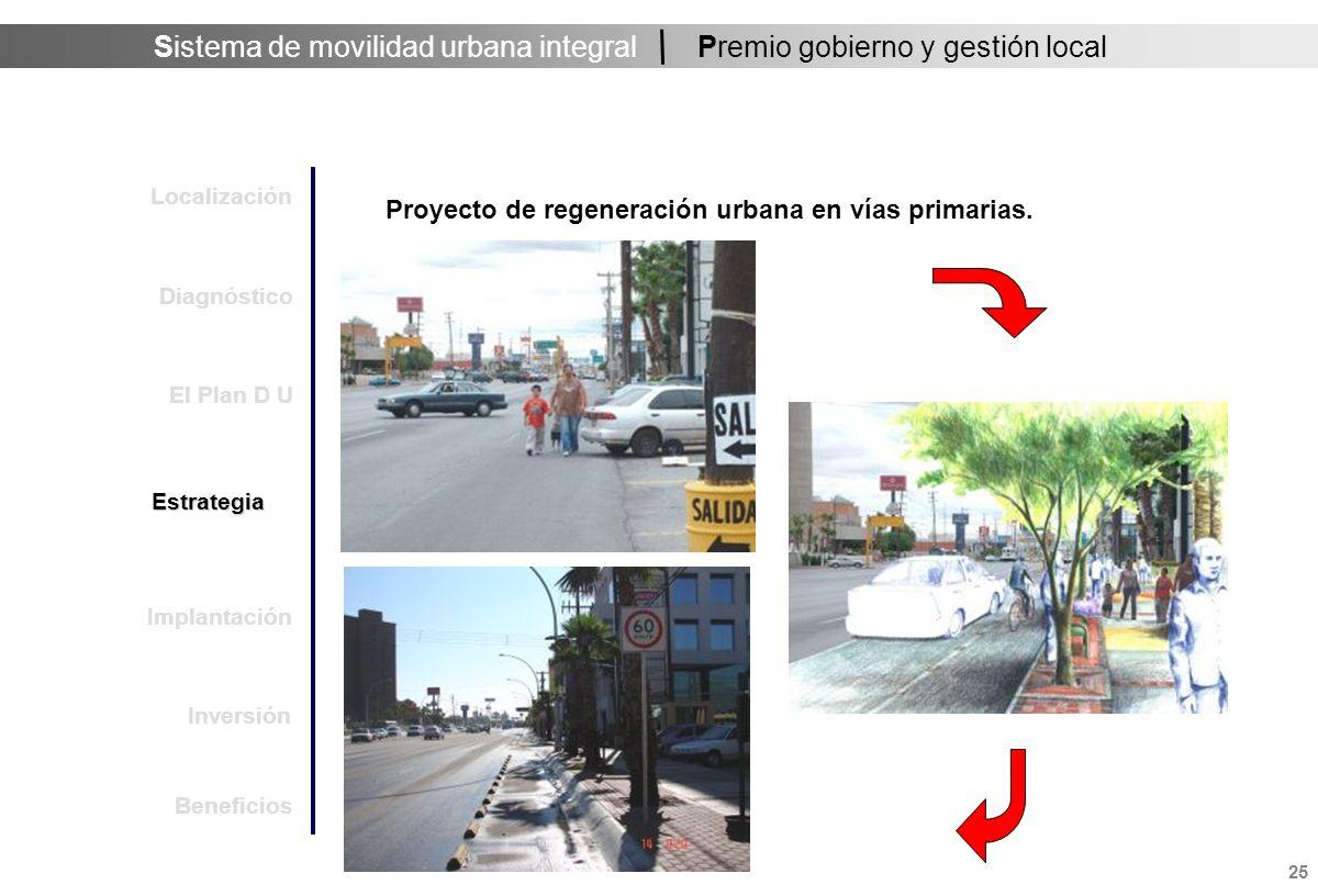 Sistema de movilidad urbana integral 26 Premio gobierno y gestión local Proyecto de regeneración urbana en vías primarias.