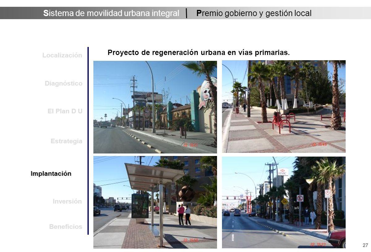 Sistema de movilidad urbana integral 28 Premio gobierno y gestión local Subsistema movilidad regional.- Inversión pública federal - estatal -municipal (de 2003 a la fecha): $ 1,300 millones de pesos.