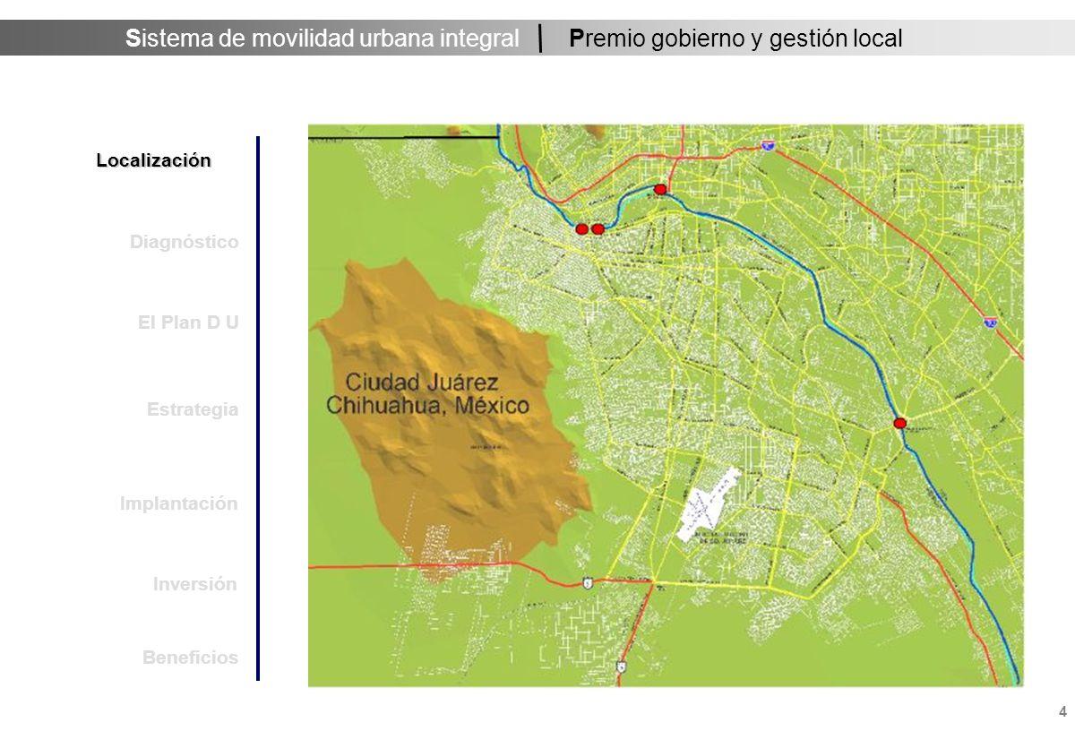 Sistema de movilidad urbana integral 4 Premio gobierno y gestión local Localización Estrategia Implantación Inversión Diagnóstico El Plan D U Beneficios