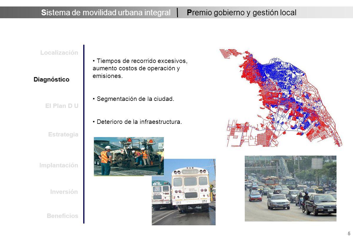 Sistema de movilidad urbana integral 6 Premio gobierno y gestión local Radial 13 km/h promedio Unidades en mal estado (+ de 15 años) Viajes indirectos y lentos … nivel de servicio pobre El actual servicio de transporte colectivo en la ciudad.