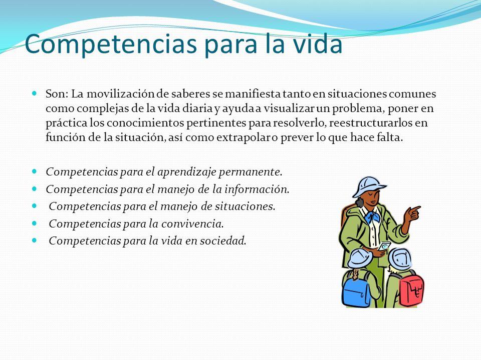 Competencias para la vida Son: La movilización de saberes se manifiesta tanto en situaciones comunes como complejas de la vida diaria y ayuda a visual