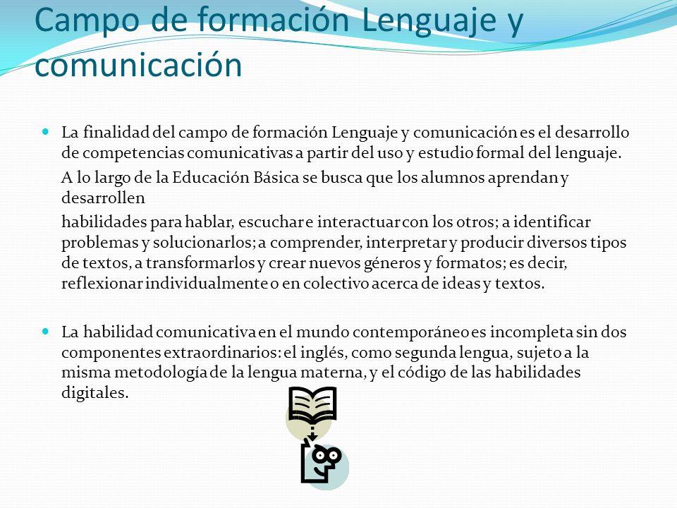 Campo de formación Lenguaje y comunicación La finalidad del campo de formación Lenguaje y comunicación es el desarrollo de competencias comunicativas