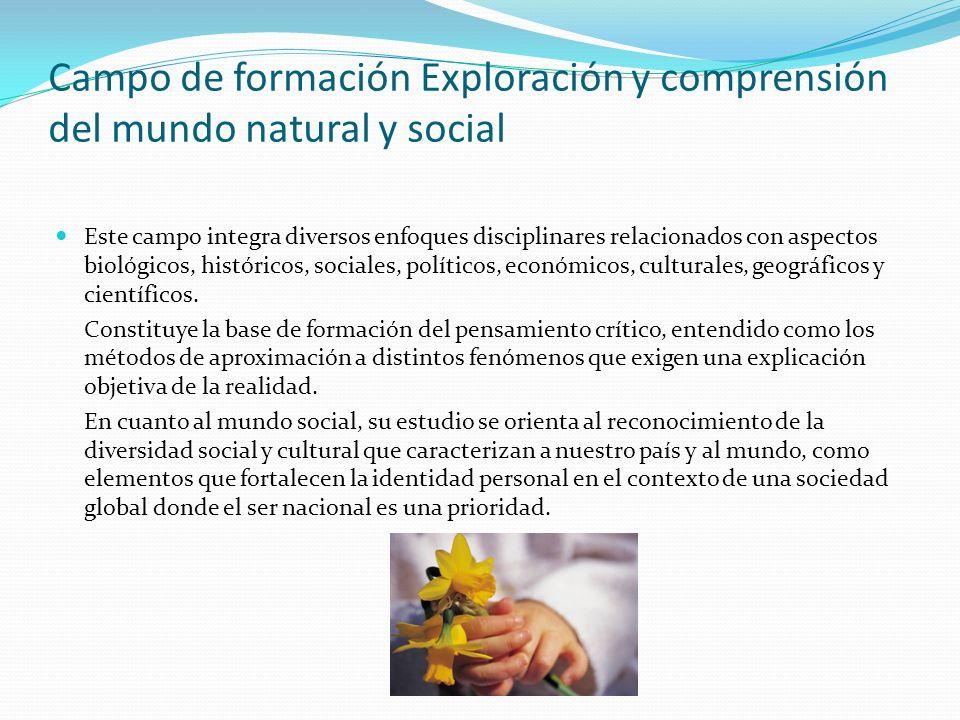 Campo de formación Exploración y comprensión del mundo natural y social Este campo integra diversos enfoques disciplinares relacionados con aspectos b