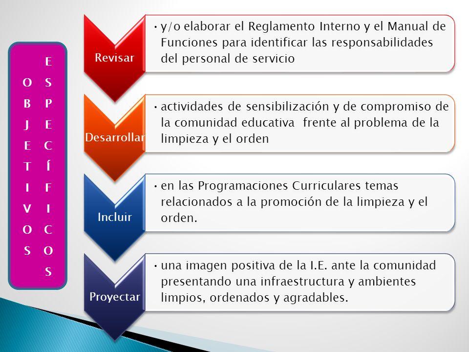 Revisar y/o elaborar el Reglamento Interno y el Manual de Funciones para identificar las responsabilidades del personal de servicio Desarrollar activi